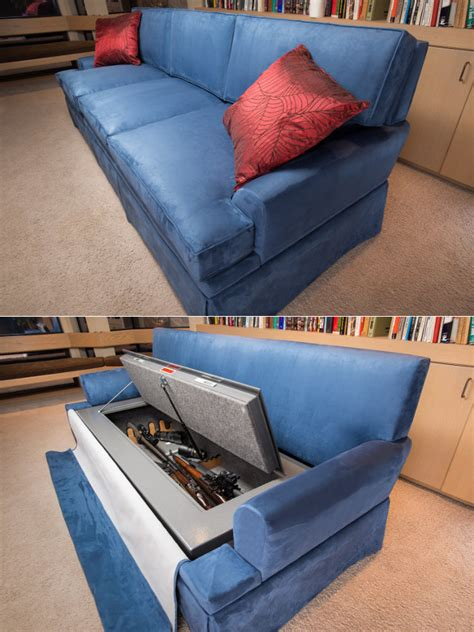 couch gun safe zombie apocaylpse couch has bulletproof cushions gun safe