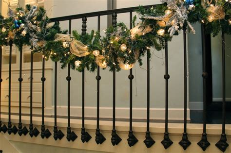 garland for stair banister my christmas stair garland transitional staircase