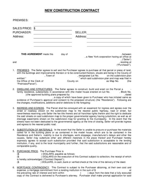 New Construction Contract Free Download