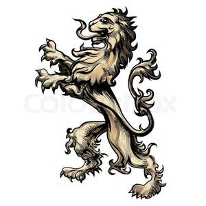 illustration heraldry lion drawn engraving style isolated white stock vector colourbox