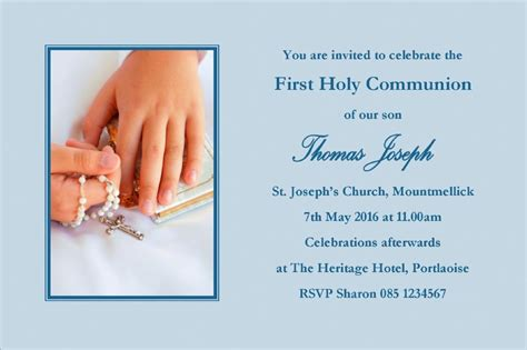 personalised  communion invitations boy son design