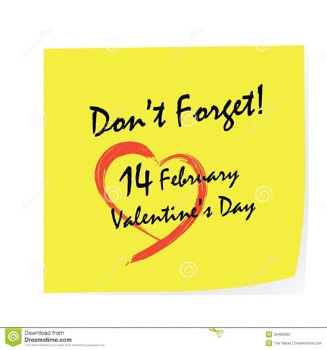 dont forget valentines day day stick stock vector illustration of