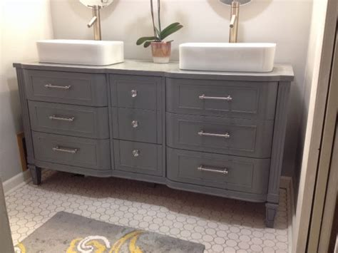 Julie Peterson Simple Redesign Pretty Dresser Turned Dresser Turned Bathroom Vanity