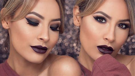 eyeliner tutorial desi perkins fall glam look berry bold lips winged liner desi