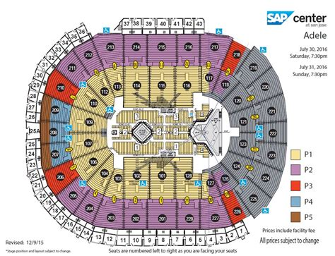 san jose sap map sap center seat map my