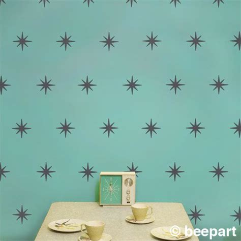 mid century vinyl wall decals starburst mid century wall decal pattern set vinyl