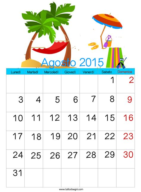 Agosto Calendario 2015 Calendario 2015 Agosto Tuttodisegni