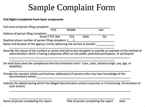 7 Sle Civil Complaint Forms To Download Sle Templates Lawsuit Complaint Template