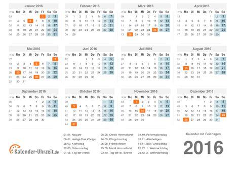 Kalender 2016 Feiertage Kalender 2016 Mit Feiertagen