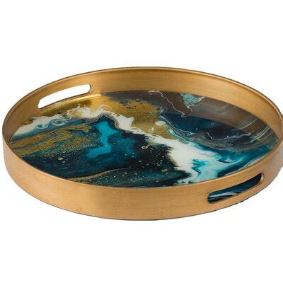 blue decorative trays youll love   wayfair
