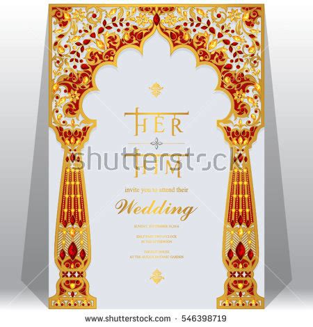 Indian Wedding Card Templates Vector by Indian Wedding Invitation Card Templates Gold Stock Vector