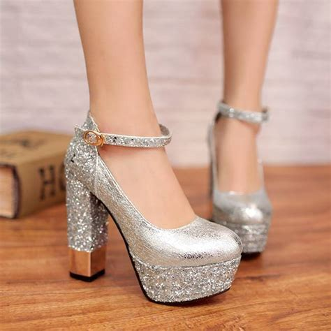 high heels with thick heels silver thick heels fs heel