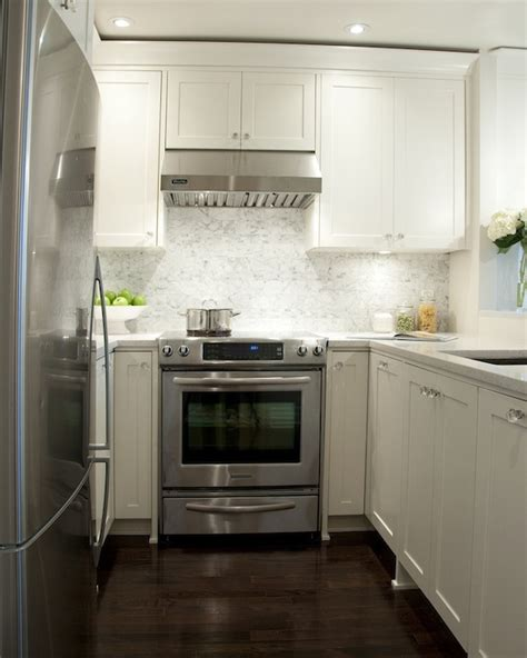 Small Kitchen White Cabinets by White Shaker Cabinets Transitional Kitchen