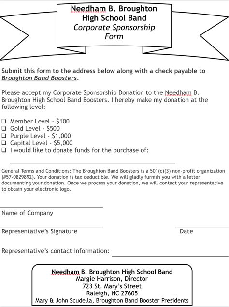 Sponsorship Letter Band Needham B Broughton High School Band Corporate Sponsorship