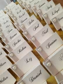 wedding table name card ideas name cards with chagne satin ribbon and pearl diamante