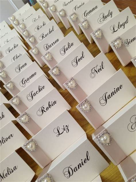 wedding card name name cards with chagne satin ribbon and pearl diamante