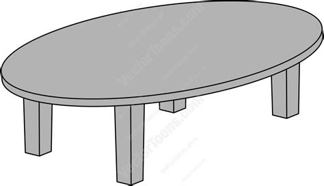 Long Computer Desk Oval Conference Table Stock Cartoon Graphics Vector Toons