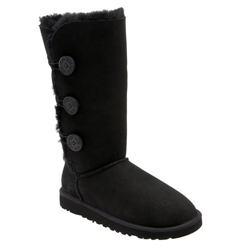 ugg boots black ugg bailey knit bow boot in black lyst