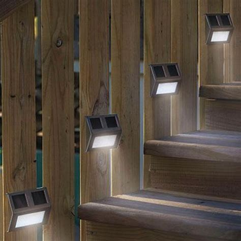Outdoor Fence Lights 5 Pcs Solar Powered Led Light Path Step Stair Light Fence Garden L Lighting Ebay