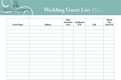 30 Free Wedding Guest List Templates Templatehub Printable Wedding Guest List Template