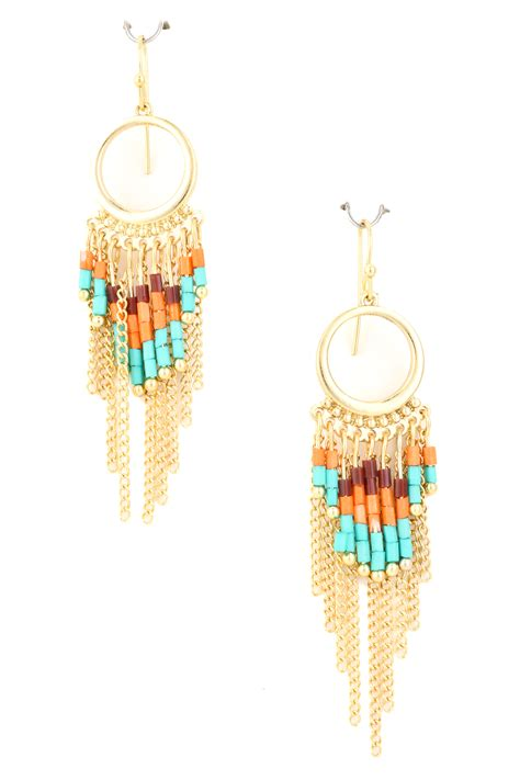 Acrylic Beaded Fringe Dangle Earring Earrings