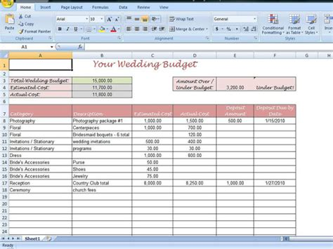 Easy Budget Spreadsheet by Simple Wedding Budget Worksheet Printable By