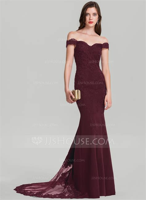 Trumpet/Mermaid Off the Shoulder Court Train Stretch Crepe