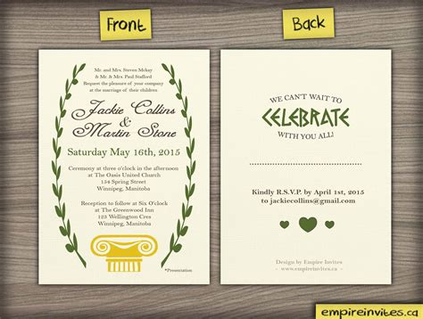 custom greek style wedding invitation from winnipeg