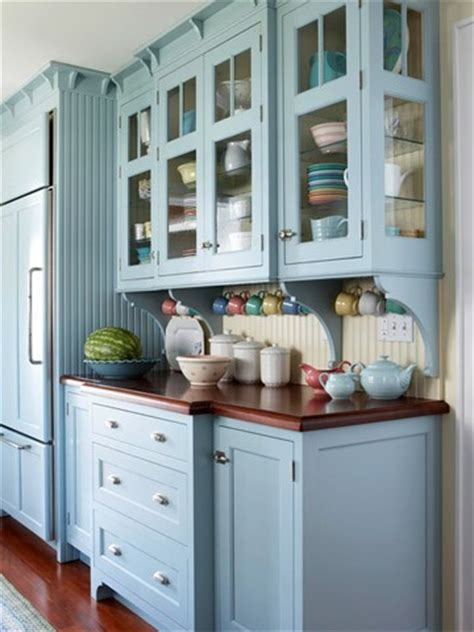 Blue Painted Kitchen Cabinets by Painted Kitchen Cabinets Cottage4c