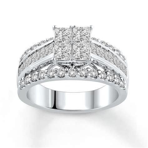 engagement ring 2 1 2 ct tw princess cut 14k white