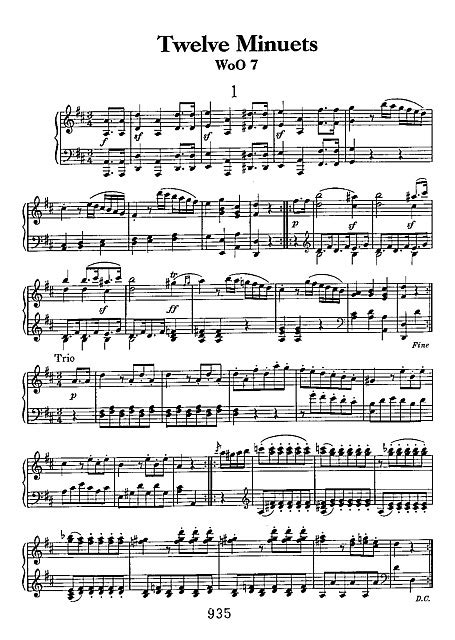 12 Minuets 피아노 - 악보 - 칸톨이온, 무료악보