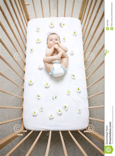 Baby In Crib Stock Photo Image Of Little Cradle Wood Baby In Crib