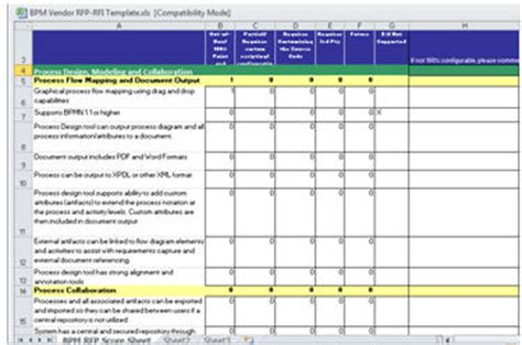 Bpm Vendor Evaluation Toolkit Bpm Rfp Rfp Template Excel