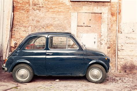 Vintage Shower Curtain - old vintage fiat 500 car in rome italy photograph by matteo colombo