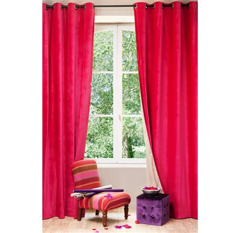 double sided velvet curtains velvet linen double sided eyelet curtain in fuchsia and