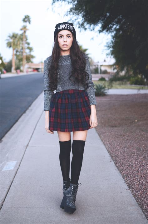 outfits with knee high socks skirt outfit of the day h cropped sweater thrifted plaid skirt