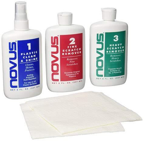 Windshield Acrylic novus plastic kit clean remove scratch automotive
