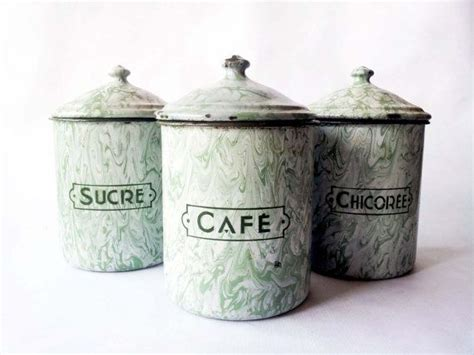french country kitchen canisters french enamelware mint green kitchen canisters set