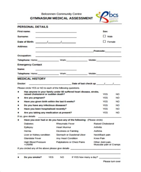 fitness assessment form sle fitness assessment forms 9 free documents in pdf