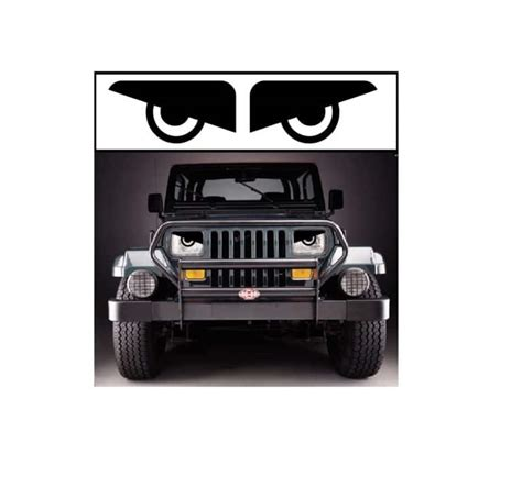 jeep angry headlights yj jeep wrangler headlight angry set of 2 decal