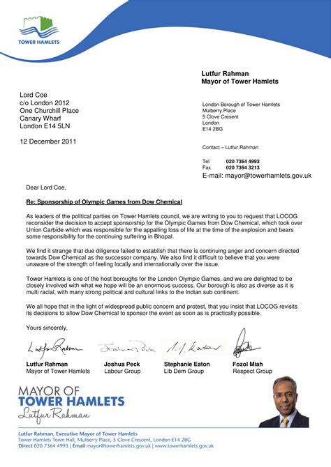Invitation Letter For Conference Sponsorship Dow Olympics Tower Hamlets Leaders Write To Coe Trial By Jeory