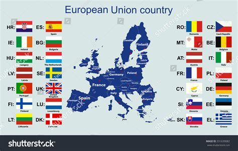 map of all european countries european union map all countries flags stock vector