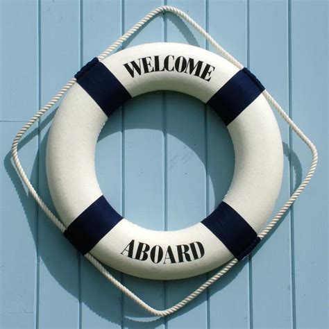 Home Decor Wooden Signs by Welcome Aboard Life Ring Coastalhome Co Uk Coastal Living
