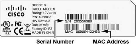 Cisco Mac Address Lookup Cisco Dpc3010