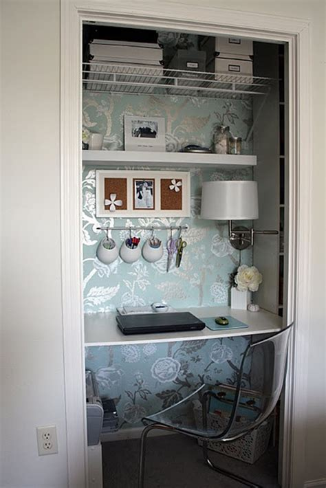 Office In A Closet Design by Cool And Stylish Office In A Closet Design