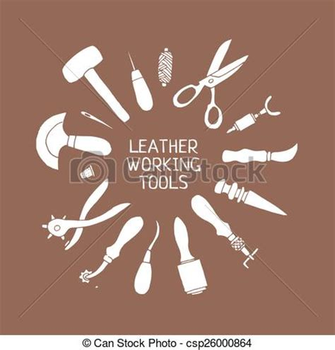 Hand drawn leather craft tools vector illustration. Set of
