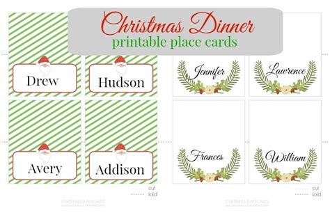 Place Setting Name Cards Template