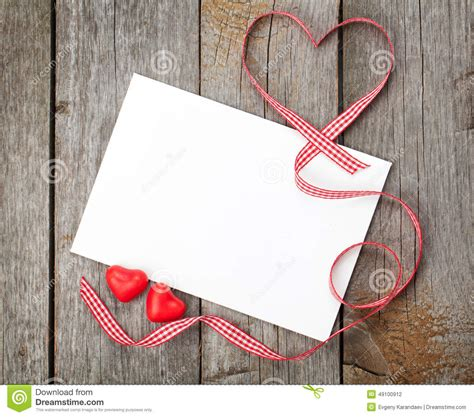 Love Film Gift Card - valentine s day blank gift card and red candy hearts stock photo image 49100912