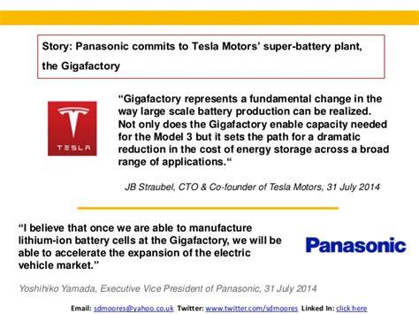 Tesla Motors Battery Supplier Tesla Motors Panasonic J V For Gigafactory Simon Moores