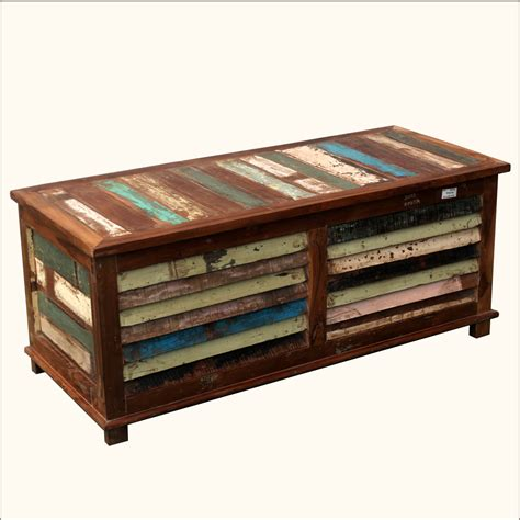 Wood Coffee Table With Storage Rustic Multi Color Reclaimed Wood Shutter Coffee Table Storage Blanket Box Chest Ebay